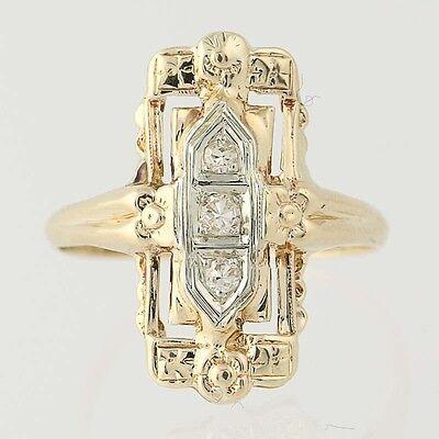Art Deco Diamond Ring - 14k Yellow & White Gold Women's Vintage