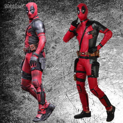 X-MEN Deadpool 2 Costume Halloween Red PU Superhero Cosplay Men Jumpsuit Outfits