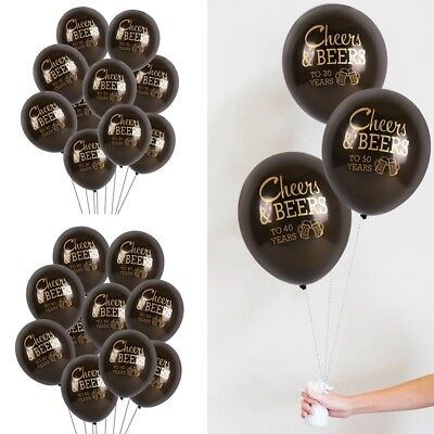 10Pcs/Lot Latex Balloon Set Cheers&Beers To 30 40 50 Years Birthday Party Decor