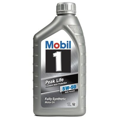 4 x Mobil 1 Peak Life 5W-50 Fully Synthetic 1L Car Engine Oil Lubricant 151446