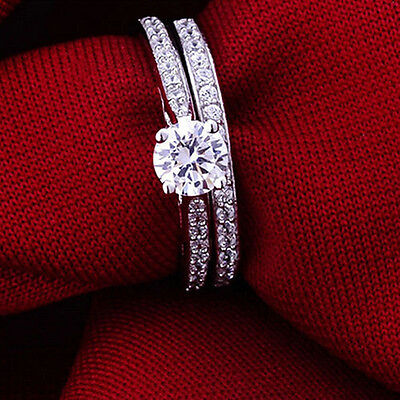 2Pcs Women Wedding Engagement Rings Silver Plated Zirconia Crystal Ring Jewelry ()