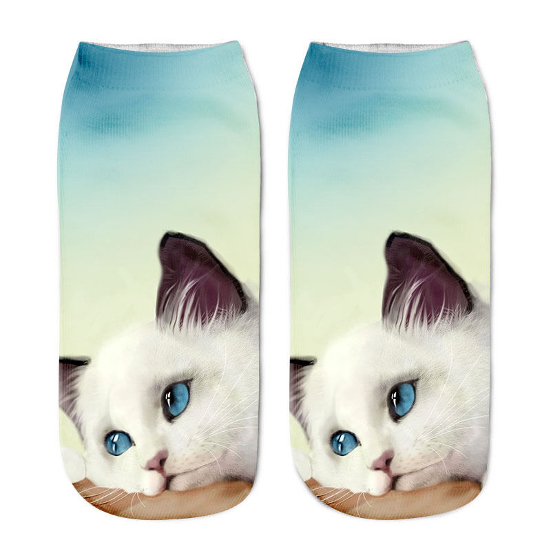 Girls Casual Socks 3D Cat Printed Anklet Socks Short Socks Clothing Accessories