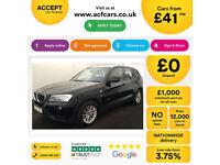 B lack BMW X3 2.0TD 2013 xDrive20d SE FROM £41 PER WEEK!