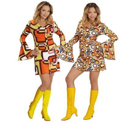 tenärmel 70er Hippie Kleid Groovy Damen Kostüm Schlagermove (Hippie Groovy)