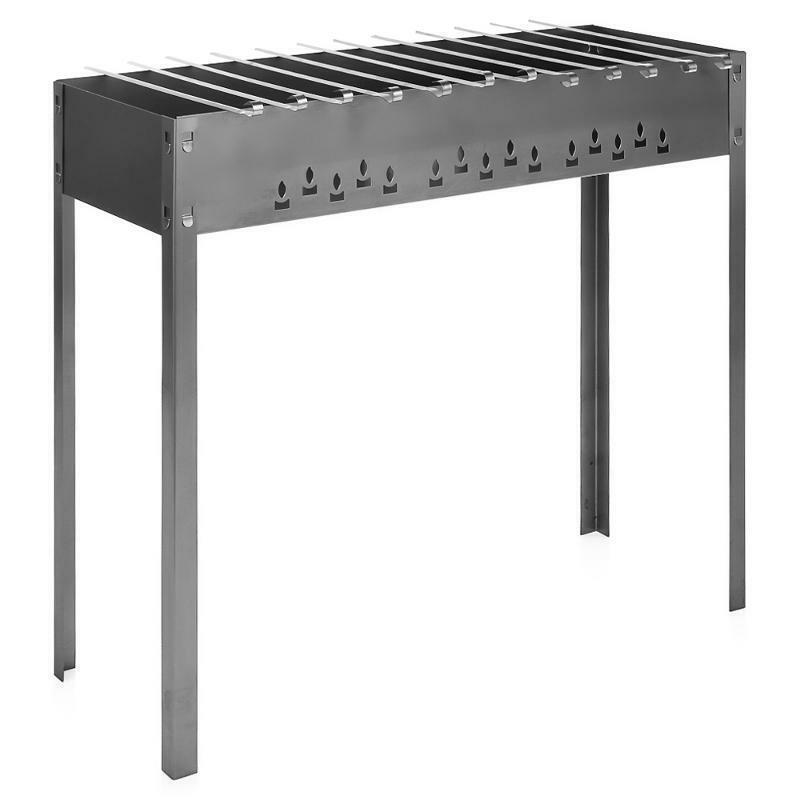 GRILL, BBQ, Mangal Mega Stahl 1 mm +12 Edelstahl Schaschlikspieße 50cm
