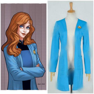 Star Trek:The Next Generation TNG Cosplay Beverly Crusher Costume Blue Coat - Crusher Costume