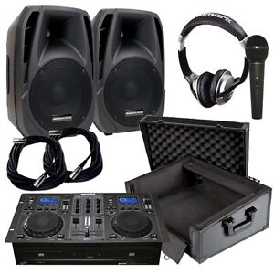 Powered DJ Speakers w/Stands and Mixer - NEW!!!!!!!!!
