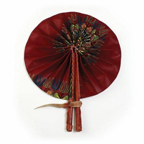 Traditional African Burgundy Leather Folding Fan | Folding Hand Fan