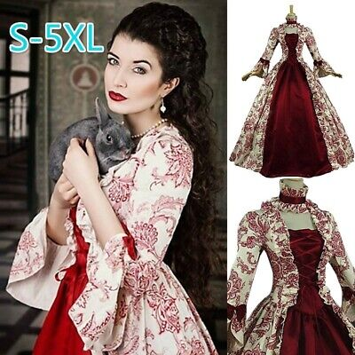 Retro Women Medieval Vintage Marie Antoinette Gown Long Dress Theatre Costumes