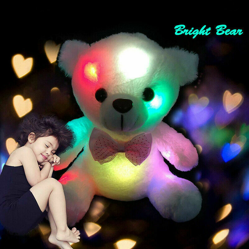 Plush Toys For Girls Baby LED Light Up Soft Stuffed Teddy Bear Kids Xmas Gift US