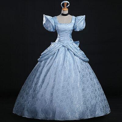 Cinderella Aschenputtel Disney Cosplay Kostüm Abend-kleid lang long Blau Blue - Blue Cinderella Kleid Kostüm