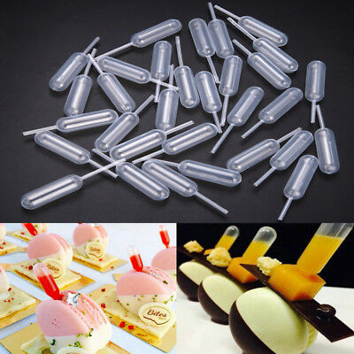 100pcs 4ml Plastic Transfer Pipettes Syrup Squeeze Dropper For Dessert Cupcake