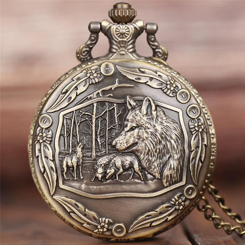 Bronze Retro Wolf Women Men Quartz Pocket Watch Pendant Chain Gift for Friend