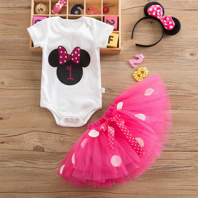 Girls 1st Birthday Minnie Mouse Bow Dots Outfit Party Dress