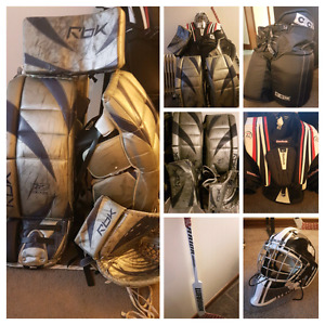 Complete set of goalie equipment and pads