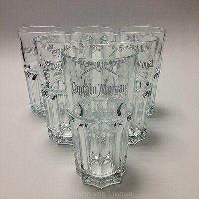 6 Captain Morgan Gläser Cola Longdrink-Gläser für Spiced Gold Glas Harley
