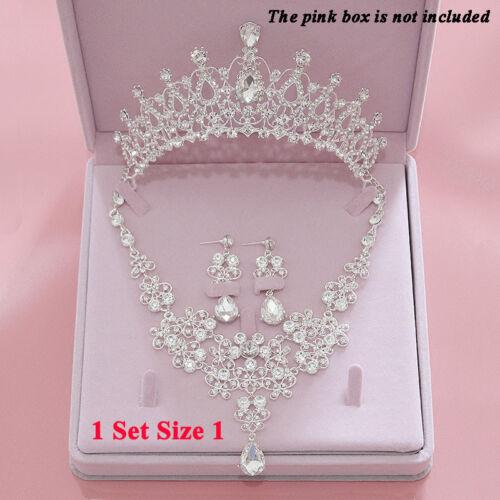 Luxury Jewelry Set Crown Tiara+Necklace+Earring Bridal Hair Diadem Wedding Tiara