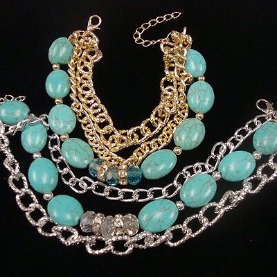 TRIPLE STRAND GOLD OR SILVER CHAIN TURQUOISE AND CRYSTAL STONE BEAD BRACELET