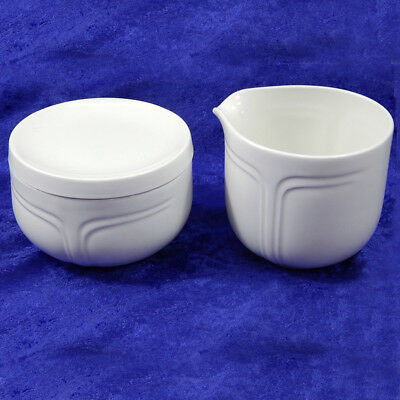 Contemporary White Covered Sugar Dish and Cream Pitcher Made in - White Covered Sugar Dish