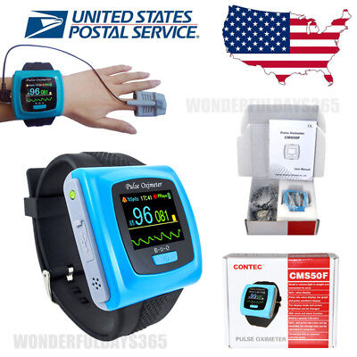 US Wrist Watch Pulse SpO2 Oximeter Blood Oxygen Monitor OLED Overnight 24h Sleep