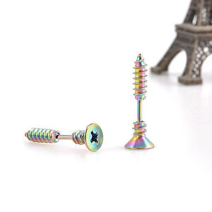 For Sell 2Pcs Cool Stainless Steel Screw Ear Studs Unisex Men Wo