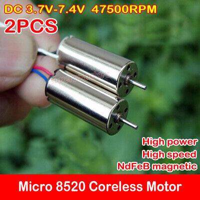 2pcs Dc 3.7v-7.4v 5v 47500rpm High Speed 8520 Coreless Motor Ndfeb Diy Rc Drone