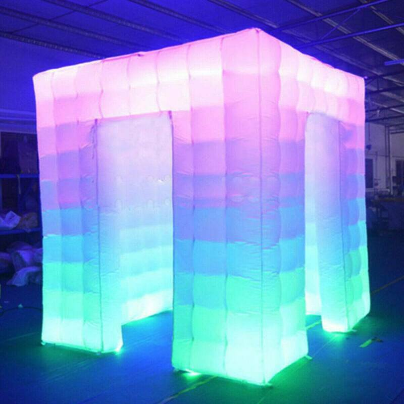 8.2FT Inflatable LED Air Pump Photo Booth Tent 7 Colors Party Wedding White US