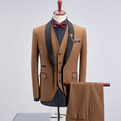 Slim Fit Brown 3 Pieces Best Man Groomsman Men's Wedding Prom Suit Groom Tuxedos - Prom Suit