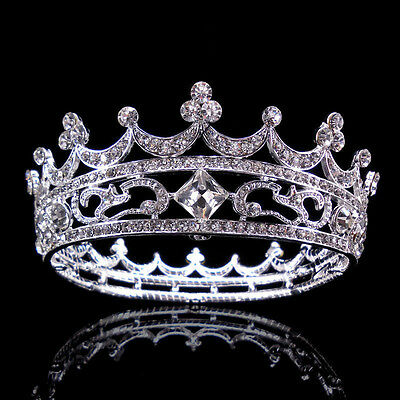 New High Full Crystal King Wedding Bridal Party Pageant Prom Tiara Round Crown](Party Crown)