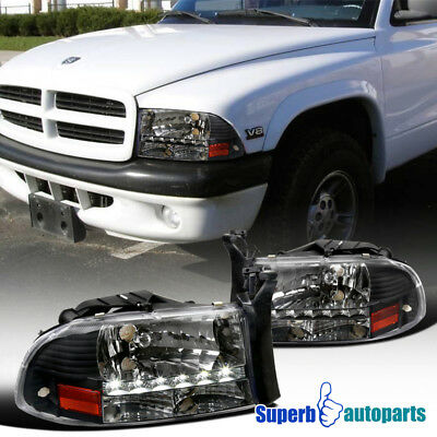 - 1997-2004 Dodge Dakota LED Crystal Headlights Head Lamps Black
