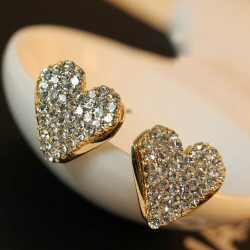 Jewellery - New Fashion Heart Love Gold Crystal Rhinestone Lady Women Stud Earrings Gifts