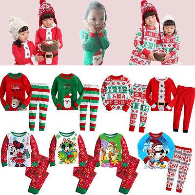 US Kids Baby Boy Girls XMAS Santa Deer Elk Sleepwear Nightwear Pajamas Set Pj's - Kid Pjs