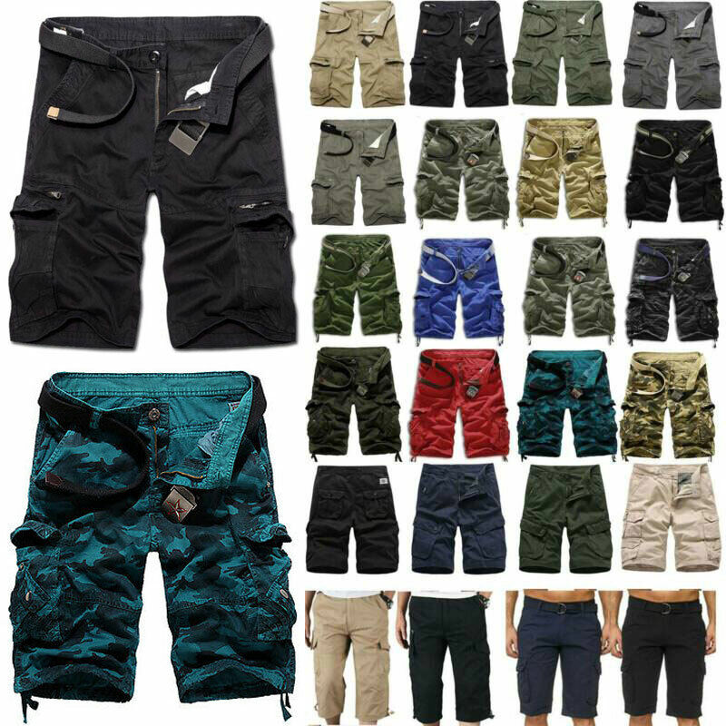 Men Military Camo Combat Cargo Shorts Army Casual Half Pants Pockets Trousers Clothing, Shoes & Accessories