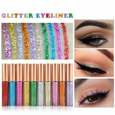 10 Colors Glitter Waterproof Eyeshadow Liquid Eyeliner Makeup Shimmer Metallic