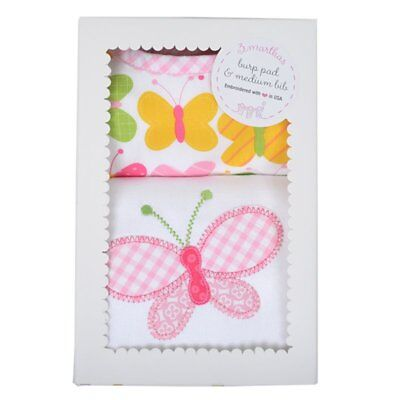 3 MARTHAS PINK BUTTERFLY BABY BIB AND BURP CLOTH BOXED GIFT SET
