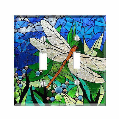 Dragonfly Blue Green Mosaic Style Light Switch Cover Plate Wall Cover Decor ()
