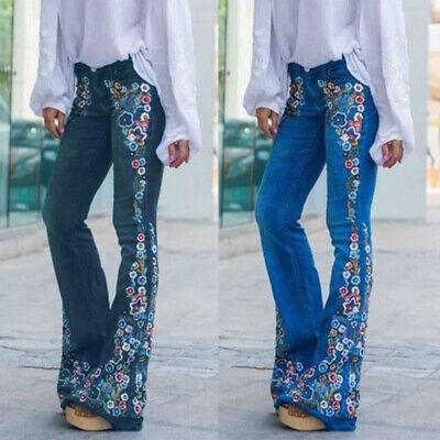 US Women Floral Denim Jeans Ladies High-Waist Bell-bottom Wi