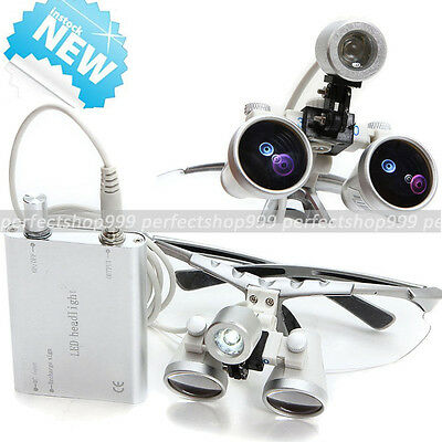 Dental Surgical Medical Binocular Loupes 3.5x 420mm Led Head Light Lamp Silver