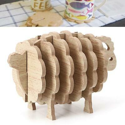 Sheep Shape Non-heat Coasters DIY Placemat Coffee Cup Pad Handmade Wood Y](Diy Wood Coasters)