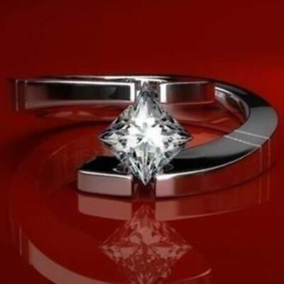 Women 925 Silver Wedding Rings Princess Cut White Sapphire Ring Size 6-10 925 Silver Princess Sapphire