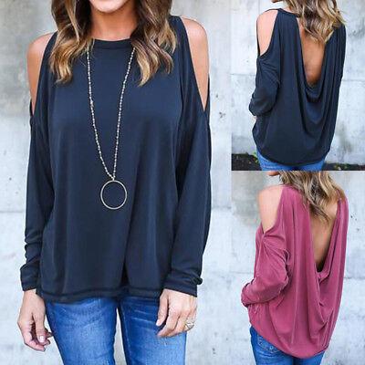 US Women's Ladies Summer Loose Tops Long Sleeve Shirt Casual Blouse T-shirt