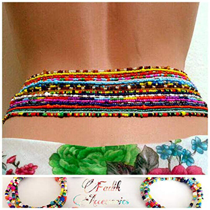 10pcs Boho Lady Body Jewelry Waist Elastic Chain Bead Belly Bikini Beach Jewelry