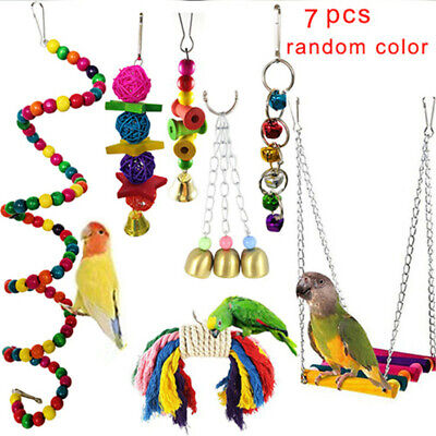 7PCS Beaks Metal Rope Small Parrot Toy Budgie Cockatiel Cage Bird Toys Set