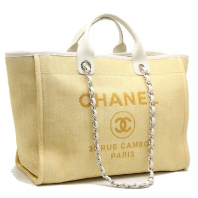 Auth CHANEL Deauville GM 2WAY Tote Bag A66941 Yellow x Ivory /59098 FREESHIP