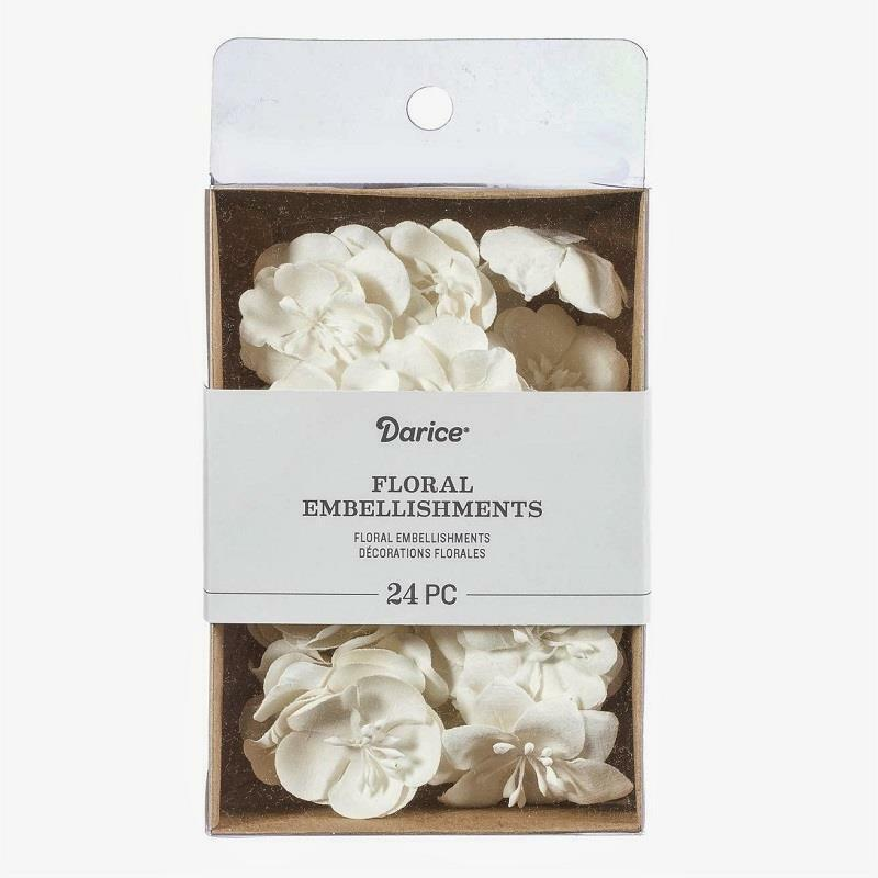 Darice 24 pieces WHITE Floral Embellishment 1.75 inch Paper Flowers 30061983