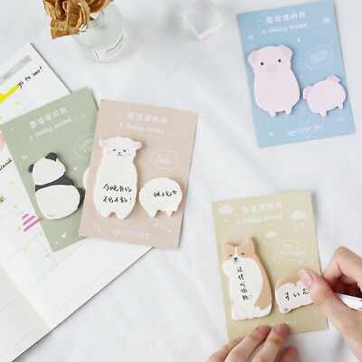 2pcs Cute Animal Memo Pad Sticky Notes Paper Sticker Notepad Kawaii Stationery