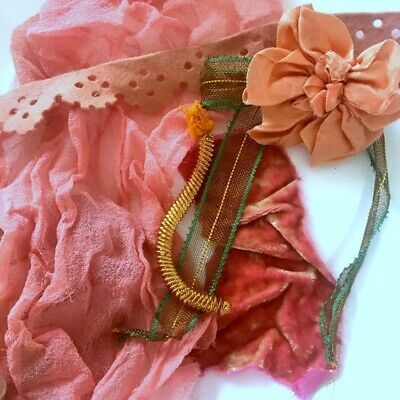 for flowers dolls milllinery antique french sheer red pink  silk tulle
