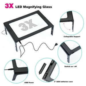 Brand New Hands Free Full Page 3X Magnifying Glass, 12 LED Light