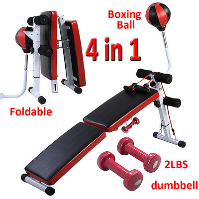 Sit Up Bench AB Abdominal Crunch Exercise Board Boxing Ball Dumbbell Train Ropes