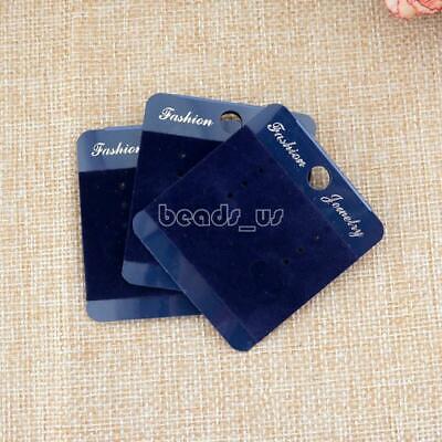 100pcs Blue Velvet Earring Hanging Holder Jewelry Display Cardboard Hang Cards